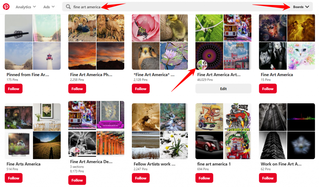 Searching for Group Boards on Pinterest